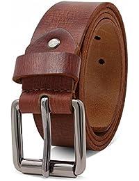 ROYALZ Vintage ceinture en cuir de buffle pour homme robuste de 4mm, Ceinture pour jeans avec boucle d'épine antique cuir-complet 38mm