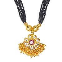 Bodha Traditional Indian Handcrafted 22K Gold Plated Designer Fancy Mangalsutra Thushi mala Necklace Pendant Set For Women (SJ_2819)