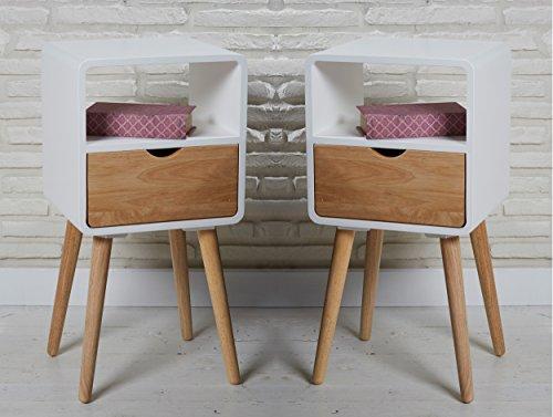 2er Set Vintage Nachttische 30 x 35 x 70 cm im skandinavischen Retrolook in weiß natur mit Schublade und offener Ablage Nachtschränke Nachtkonsolen Nachtkästchen Nachtkommoden