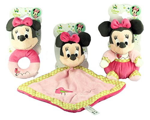 "Image of Officially Licensed - Disney Baby Minnie Mouse ' Pretty in Pink' 6"" Super Soft Plush Rattle, Comforter & Plush Toy Set"