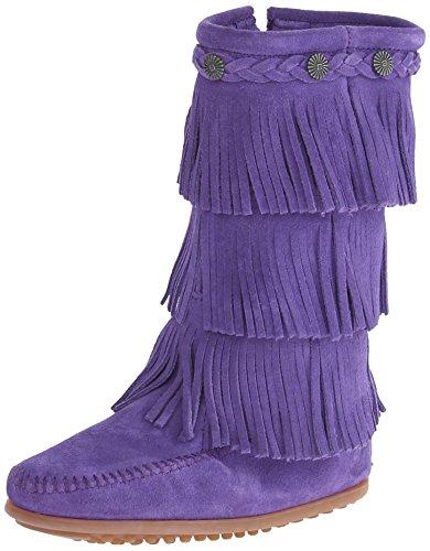 Minnetonka 3-layer Fringe Boot, Mocassins (loafers) Fille - Violet (purple), 33 EU