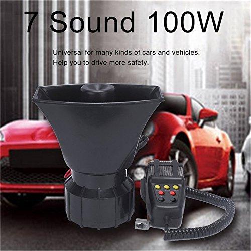 Swiftswan 7 Sound 100 Watt Elektronische Auto Laut Warnung Alarm Motorrad Horn mit Mikrofon (Farbe: Schwarz) (System Alarm Warnung)