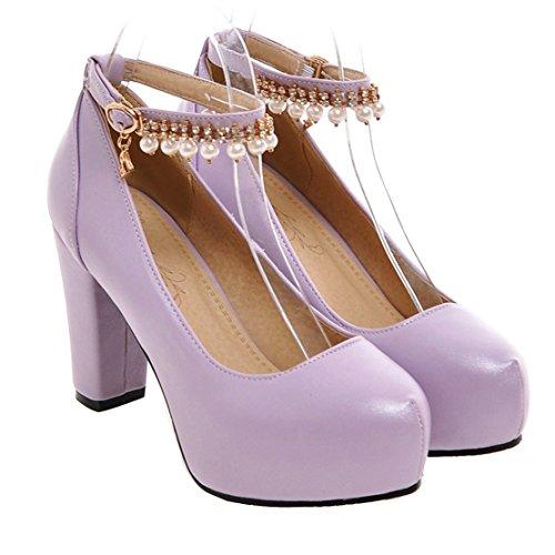 Damen Blockabsatz High Heels Pumps mit Riemchen und Perlen Modern Schuhe Aiyoumei rc8pwkGnO