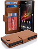 """Cadorabo ! Book Style wallet case for Sony Xperia """"Z"""" in SADDLE-BROWN"""