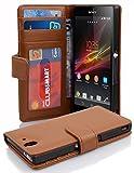 Cadorabo DE-100230 Sony Xperia Z Handyhülle mit 3 Kartenfächern - Case Cover Schutzhülle Etui Tasche Book Klapp Style Braun