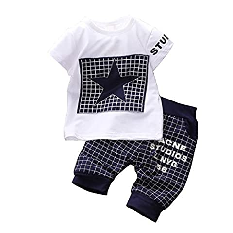 WangsAura Baby Boy Kid 2 Piece STAR Sportswear Clothes T-shirt Top Short Pants Outfit (3 Pezzi Bambino Outfit)
