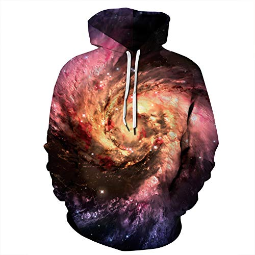 WYX Unisex 3D Lightweight Hoodie Für Männer Frauen Galaxy Printed Long Sleeve Hooded Pullover Sweatshirts,a,XXXXL (Hooded Lightweight Pullover)