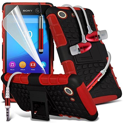 Étui pour Sony Xperia M5 / Sony Xperia M5 E5603, E5606, E5653 Titulaire de téléphone Case voiture universel Mont Cradle Dashboard & pare-brise pour iPhone yi -Tronixs Shock proof + Earphone (Red)