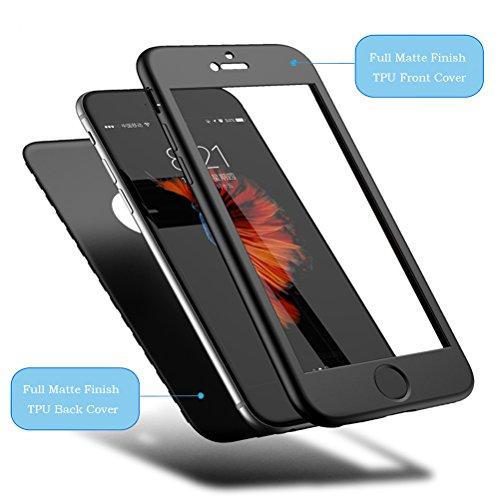"""HICASER iPhone 6s Plus 360 Grad Hülle + Panzerglas, Komplettschutz Vorder und Rückseiten Schutz Schale Ganzkörper-Koffer Soft TPU Schutzhülle für iPhone 6 Plus / 6s Plus 5.5"""" Blau Schwarz"""