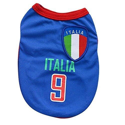 Kingnew Pet Fußball Kleidung Welt Cup Jersey Atmungsaktive Sportbekleidung für Outdoor Sommer (Italien, S) Hund Cup