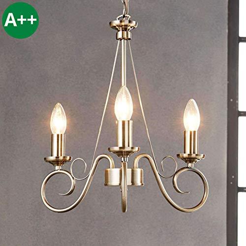 Retro-bronze-kronleuchter (Lampenwelt Kronleuchter 'Marnia' dimmbar (Retro, Vintage, Antik) in Bronze aus Metall u.a. für Wohnzimmer & Esszimmer (3 flammig, E14, A++) - Pendelleuchte, Hängelampe, Lüster, Lampe, Deckenleuchte)
