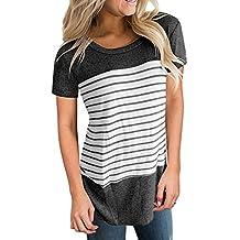 Camisetas Mujer Verano ❤️Xinantime Camisetas Mujer Manga Corta Rayas Blusa Mujer Sport Tops Mujer Verano
