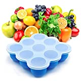 Osup Baby Food Freezer Tray Food Storage Container 9 Cups with Lid,Microwave Oven and Dishwasher Safe BPA Free and FDA Approved Sillicone for Homemade Baby Food, Vegetable, Fruit Purees and Breast Milk - Blue