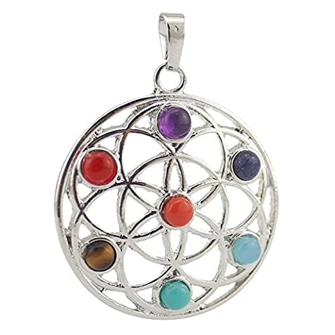 Contever® 7 Chakra Pendant Natural Crystal Gemstone Insert Into Reiki Healing Balancing Wreaths Alloy - Round