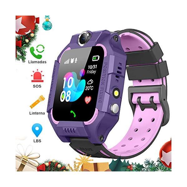 BANLVS Smartwatch Niños, 2019 Nuevo Reloj Inteligente Niños con Flashlight, IP67 LBS SOS, Cámara, Smartwatch con Ranura… 1