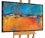 KunstLoft® Acryl Gemälde 'Torridity' 120x80cm | original handgemalte Leinwand Bilder XXL | Abstrakt Blau Warme Farben | Wandbild Acrylbild moderne Kunst einteilig mit Rahmen