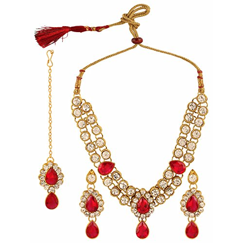 Efulgenz Indian Bollywood Traditional Heavy Bridal Designer Jewelry Necklace Set for Women and Girls