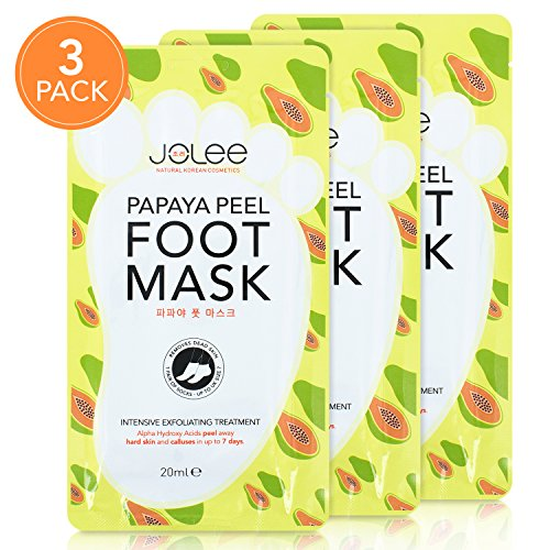 JoLee Papaya Foot Exfoliating Mask [3 Pairs], Slip-On Sock Style Peel-Off Foot Mask with Papaya Extract for Baby Soft Feet, Promotes Exfoliating and Removes Calluses and Dead Skin, Up to Size 7 (TRIPLE PACK)