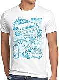 style3 DMC-12 Blaupause T-Shirt Herren Zeitreise 80er McFly Blueprint Auto Car, Größe:M, Farbe:Weiß