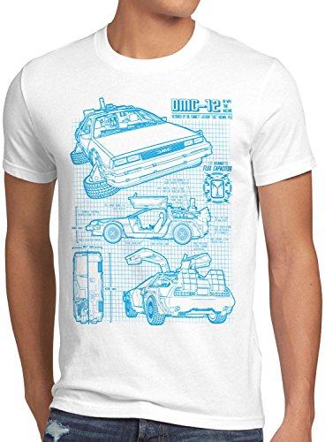 style3 DMC-12 Blaupause T-Shirt Herren Zeitreise 80er McFly Blueprint Auto Car, Größe:S, Farbe:Weiß (In Zukunft Die Kostüm Zurück Doc Brown)