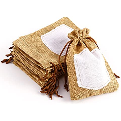 10pcs Bolsa de Organza Arpillera Bolsitas de tela de saco con etiqueta para regalo decorar boda bautizo