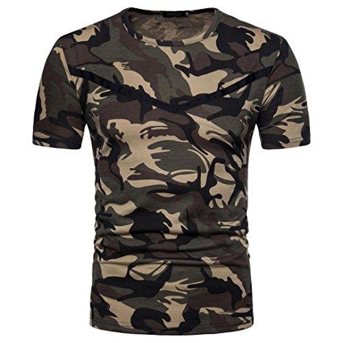 Preisvergleich Produktbild Herren Casual Camouflage Bluse ,VENMO Drucken O Neck Pullover Kurzes T-Shirt Top Herren Sommer Hoodie Bluse Mode Kapuzen Herren Kurzarm Sports T-Shirt Slim Fit Hemd Oberteile Tank Tops (Camouflage, M(Asian M =EU S))