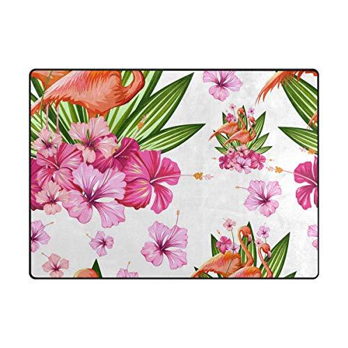 AHOMY Teppich, 150 x 200 cm, rutschfest, moderner Flamingo-Blumen-Teppich für Wohnzimmer/Baby/Haustierzimmer/Schlafzimmer/Esszimmer/Küche, Textil, Multi, 120x160 cm(5'x4' ft) -