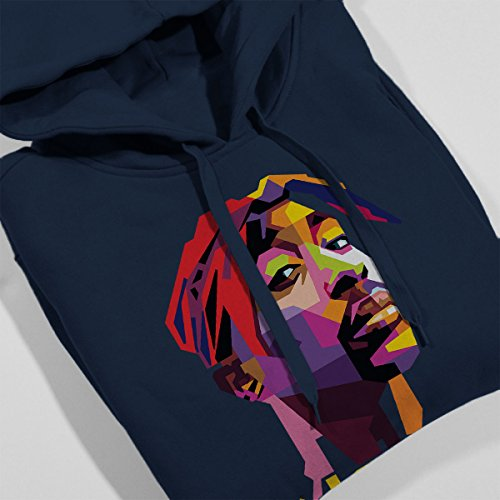 Geometric Celebrity Tupac Yellow Men's Hooded Sweatshirt Navy blue