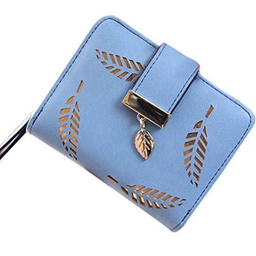 Custodie per tessere da viaggio, Kfnire raccoglitore frizione della borsa della moneta a due fogli tagliati di cuoio molle delle donne (nero) blu