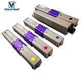 VICTORSTAR Kompatible Tonerpatrone C301 C321 MC332 MC342 Serie 4 Farben (BK + C + Y + M) 2200 Seiten für Schwarz, 1500 Seiten für C M Y für Oki 301 C301 C301dn C321 C321dn MC332dn MC332 MC342