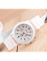 Analogue White Dial White Printing Luxury Watches Women & Girls