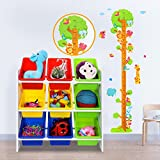 from SONGMICS SONGMICS Toy Storage Unit with Anti-toppling Device and 9 Plastic Boxes Toy Storage Rack, 65 x 27 x 60 cm (W x D x H), GKR01W