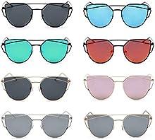 QHGstore La mujer de las se?oras de moda las gafas de sol del metal del marco de protecci?®n UV400 gafas de sol Gafas de dise?o