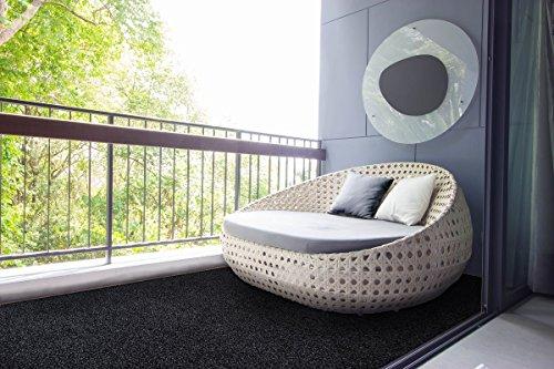 Rasenteppich Kunstrasen mit Noppen Anthrazit nach Maß - 1.550 g/m² versandkostenfrei schadstoffgeprüft pflegeleicht antistatisch schmutzresistent robust Balkon Terrasse Camping Freizeit , Größe Auswählen:400 x 150 cm