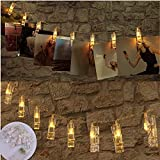 Foto Clip Lichterkette, WZOED 10 Foto-Clips 1.2 m Batterie betrieben Funkeln LED-Clip Lichter, Hochzeits-Party Home Decor Weihnachts Raum Indoor Outdoor Dekorationen Lichter für hängende Fotos, Karten und Artwork (warmes Weiß)