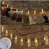 Foto Clip Lichterkette, WZOED 10 Foto-Clips 1.2 m Batterie betrieben Funkeln LED-Clip Lichter, Hochzeits-Party Home Decor Weihnachts Raum Indoor Outdoor Dekorationen Lichter für hängende Fotos, Karten und Artwork (warmes Weiß)