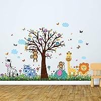 "Wall Stickers""Happy Zoo & Butterflies Grass"" Wall Murals Removable Self-Adhesive Decals Art Nursery Kindergarden School Baby Toddler Children Kids Room Decoration"