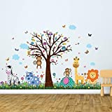 Adhesivos de Pared 'Feliz Zoológico & Mariposas Hierba' Pared murales extraíble Autoadhesivo Adhesivos Arte cuarto del bebé KINDERGARDEN Colegio Niño Bebé Infantil Habitación Infantil Decoración