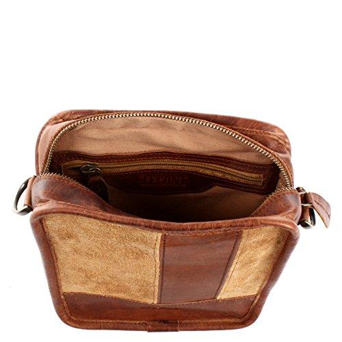 LECONI kleine Leder Umhängetasche Schultertasche Damentasche Herrentasche Handtasche Ledertasche für Damen und Herren Veloursleder Wildleder 20x22x7cm LE3057-VL Cognac / Braun
