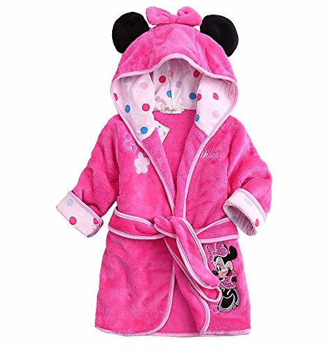 Kuhu Creations® Cartoon Style Hooded Towel Bath Robe For Kids(Min Mus:Pink & Black).