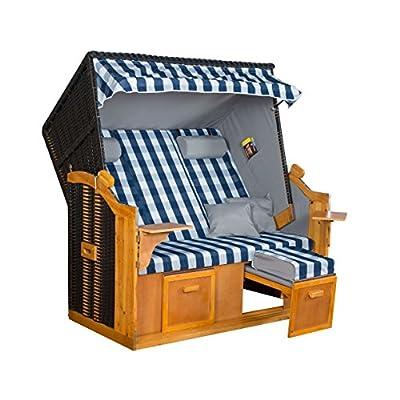 Strandkorb BALTIC BLB XXL, anthrazit, blau-weiß karierter Bezug, von LILIMO