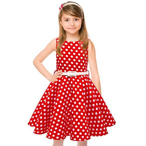 HBBMagic Maedchen Audrey 1950er Vintage Baumwolle Kleid Hepburn Stil Kleid Blumen Kleid Tupfen Kleid, Roter Tupfen, 5-6 Jahre/114-122 CM 114