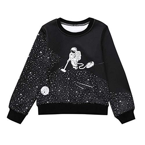 ZHRUI Kleinkind-Kleidung, Herbst gedruckt Langarm Pullover Sweatshirt Mode Cartoon-Muster Raum Astronaut Warm Tops Casual Outdoor Basic Shirts Outfits für Kinder Jungen ()