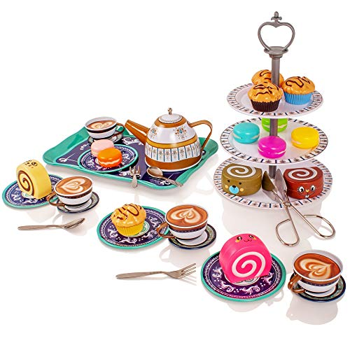 Milly & Ted 39 Stück Nachmittagstee Party Teaset für 4 - Kinder Metall Tee Set - Pretend Play Essen Kuchen Kekse