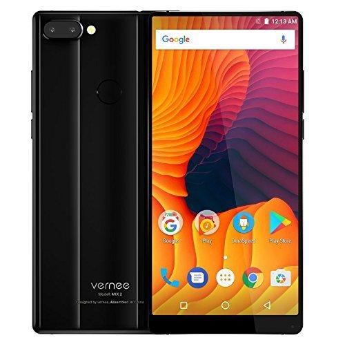 Vernee Mix 2 - 6,0 Zoll FHD (18: 9 alle Bildschirm) Octa Core 2,5 GHz 4 GB + 64 GB, dreifache Kamera (8MP + 5MP + 13MP), GPS, 4200mAh Batterie - Schwarz