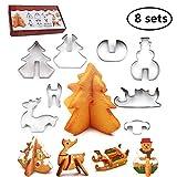joyoldelf 8 Pezzi Set di formine per Biscotti di Natale in 3D, taglierina di Biscotti in Acciaio Inox con Scatola di Colori,per la Torta Che Decora la Torta di Biscotti Biscotto, per Natale (Argento)