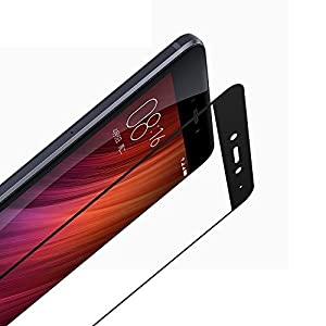 Angel Gadgets Golden Series Edge To Edge Full Front Body Cover Tempered Full Glass Screen Protector Guard For Xiaomi Redmi Note 4 - Black