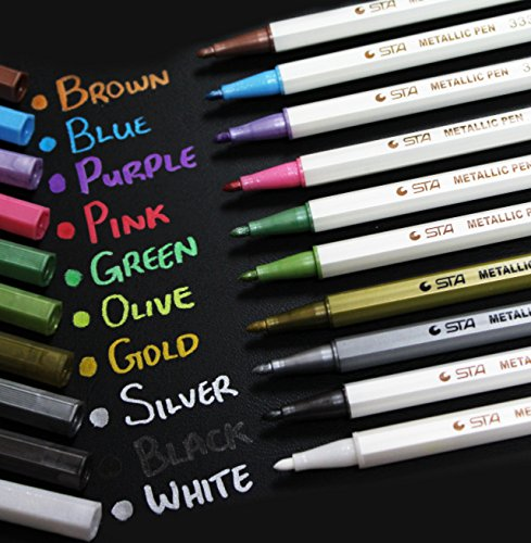 luxway-set-of-10-colors-metallic-marker-pens-gold-silver-white-pink-ink-card-making-all-colours-10-p