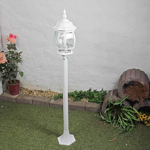 """Rustikale Wegleuchte\""""Brest\"""" in weiß mit E27 bis zu 60W 230V IP43 Gartenleuchte Wegelampe antik Laterne Aussenleuchte Aussenlampe Wegeleuchte Stehleuchte Standlampe"""