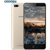 Smartphone Libre, DOOGEE X20 Móviles Libres Baratos, 3G Android 7.0 Telefonos - MT6580 mali-400 - 5.0 Pulgadas HD IPS Pantalla - 16GB ROM - 8MP Cámara - Dual SIM - Batería de 2580mAh (Oro)